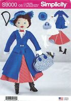 """Simplicity S9000 Stuffed 17"""" Mary Poppins Doll & Clothes UNCUT Sewing Pattern"""
