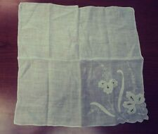 Vtg Wedding Hankerchief Hankie Ivory Off White Lace Embroidery Linen Floral Euc