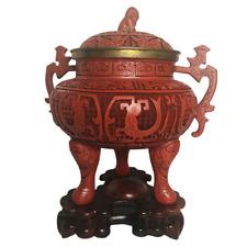 Red Cinnabar Lacquered Ginger Jar Vase Foo-dog Lid Wood Base Signed Urn Chinese