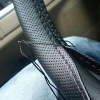 Black DIY PU Leather Car Truck Steering Wheel Cover 38cm With Needles and Thread