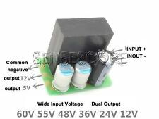 60V/55V/48V/36V/24V To 12V/5V 1A Dual Output Step Down Buck Power Supply Module