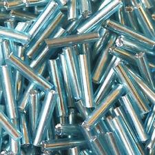 Perles de Rocailles Tubes en verre Trou argenté 9x2mm Turquoise 20g