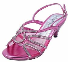 GIRLS CHILDRENS PINK DRESS-UP DIAMANTE LOW-HEEL SANDALS PARTY SHOES SIZES 10-2