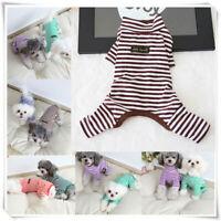 Pet Stripe Dog Puppy Cat Winter Autumn Jumpsuit Pajamas Sleepwear Teddy Clothes