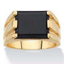 MENS BLACK ONYX 14K GOLD EMERALD CUT GP RING SIZE 8 9 10 11 12 13