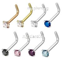 1pc L Bend 3mm Round CZ Prong Set IP 316L Surgical Steel Nose Stud Ring 20G 18G