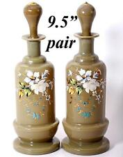 """Antique PAIR (2) French Opaline Decanters, 9.5"""" Tall, Enameled Floral on Tan"""
