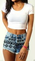 New Womens Ladies Short Sleeve  Plain & Printed Round Neck Stretchy Crop Top8-14