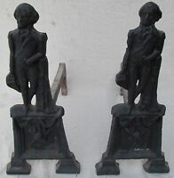 PAIR OF 19TH C FEDERAL PERIOD GEORGE WASHINGTON CAST IRON ANTIQUE ANDIRONS