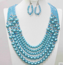 """New 5 Rows Blue Shell Pearl Crystal Beads Necklace Earring Jewelry Set 20-25.5"""""""