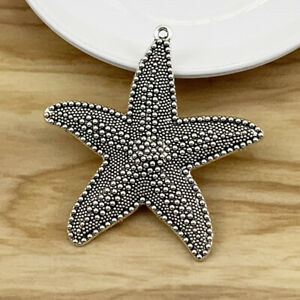 2 x Tibetan Silver Starfish Sea Star Charms Pendants for Necklace Jewelry Making