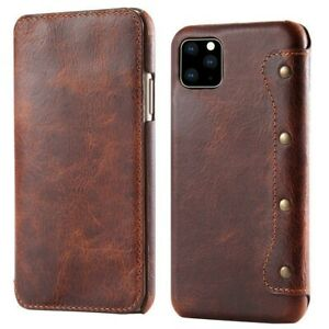 Retro Handmade Real Leather Wallet Flip Case Cover For iPhone12/12Pro&12 Pro Max