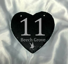 Premium Home Plaques Birds Classic Style Custom House Number Sign Engraved Slate