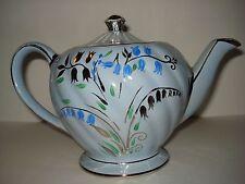 SADLER  TEA POT OR PITCHER WITH LID DECORATED W/BLUE BELLS,SWIRLS & GOLD TRIM