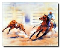 Western Rodeo Cowboy Calf Roping Horse Wall Decor Picture Art Print Poster 16x20