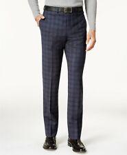 $199 CALVIN KLEIN 35W X 39L Men's Blue Plaid Slim Fit FLAT FRONT PANTS TROUSERS