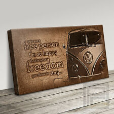 VW CAMPER VAN WITH FREEDOM QUOTE VINTAGE ICONIC CANVAS PRINT PICTURE ArtWilliams