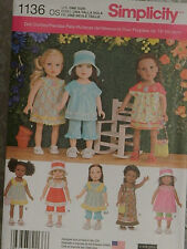 "Uncut Simplicity 1136 Doll Clothes Patterns for Size 18"" Girl Dolls"