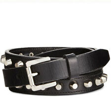 $55 Michael Kors Women's Silver Studded Pebble Grain Leather Belt 553355 Black