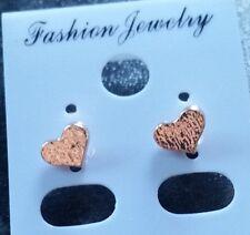 Cute Little Heart Stud Earrings, Rose Gold Plated
