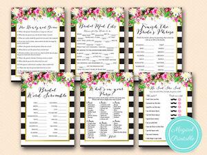 Print Yourself Elegant Pink Floral Bridal Shower Games BS176