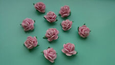 Pink Mulberry Paper Roses, 10mm, Shabby Chic, Wedding, Craft Embellishment