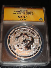 2000 Australia Silver $1 Year of the Dragon MS 70 DEEP CAMEO, ORIGINAL SERIES 1