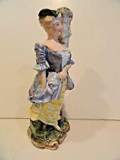 "Figural Lady Majolica Vase - Antique - 10"" tall - Elegant Lady"