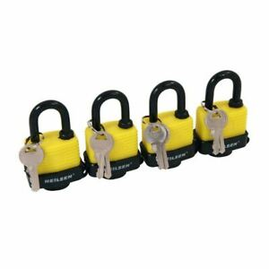 4 x Heavy Duty Keyed Alike 40mm Padlocks Water Resistant Weatherproof Security
