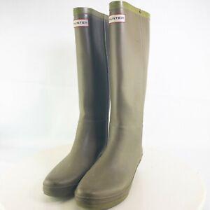 Hunter Womens Green Round Toe Knee High Lightweight Comfort Rain Boots Size US 9