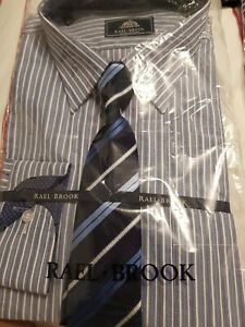 New Rael Brook Mens blue Stripe Shirt And Tie Size 18 Collar