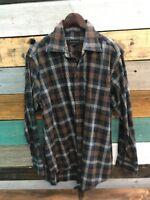 Scott Barber Button Up Shirt Men's Size Large Plaid Checks Long Sleeve