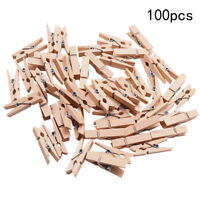 100x New Wood Clothespins Wooden Laundry Clothes Pins Paper Peg DIY Clips Useful