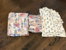 Vintage Handmade Holly Hobbie Baby Doll Small Quilt, Matching Pillow & Bed Skirt