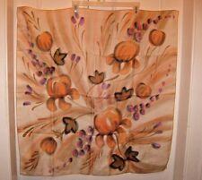 Hand Painted French Silk Scarf Vtg 70s Keridec Paris Iris Beige Purple
