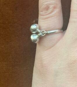 sterling silver double dangle bell charm ring