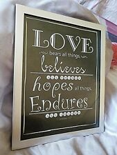 New listing Beautiful Silver & Black Love Sign~ 1 Corinthians 13:7 Still Holds True Today