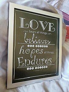 BEAUTIFUL Silver & Black Love Sign~ 1 Corinthians 13:7 Still Holds True Today