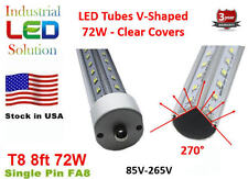 25-Pack 8Ft, 72W, Cold 6000K, Clear, V-LED T8 T10 LED Tube Light single pin FA8