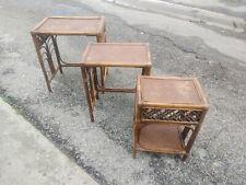 VINTAGE BAMBOO & RATTAN NESTING TABLES (SET OF 3) Stacking Tiki Boho Chic