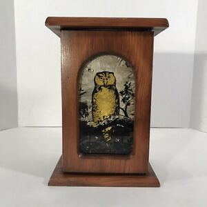 Fair Trade Hand Made Carved Wooden Wood Owl On Perch T Tea Light Candle Holder