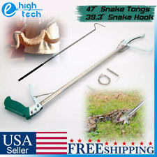 "47"" Stainless Steel Wide Jaw Snake Tongs + 39"" Collapsible Reptile Hook Grabber"