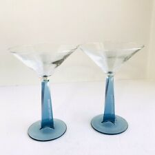 Bombay Sapphire Set 2 Square Tapered Blue Stem Clear Bowl Etched Martini Glass