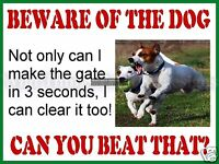 RETRO METAL PLAQUE :BEWARE OF THE DOG Jack Russell sign/ad
