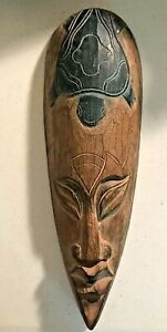 """Carved Wood Indonesian Jenggot Wall Mask with Sea Turtle Design 15.75"""" x 5.25"""" W"""