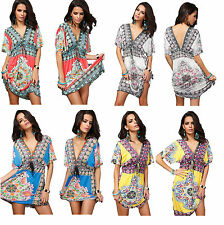 Polyester V Neck Summer/Beach Regular Size Dresses for Women