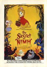 "EAG82/24/5PG8 THE SECRET OF NIMH MOVIE ADVERT 12X9"""