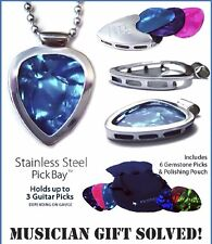 Guitar PICK Necklace Holder pendant +6 Gemtones picks PICKBAY Stainless Steel