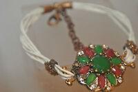 Turkish 2 Carat Emerald Handmade Victorian Style Leather Bronze Boho Bracelet