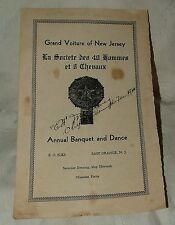 1940 Grand Voiture 40 & 8 E. Orange New Jersey Annual Banquet Program Signatures